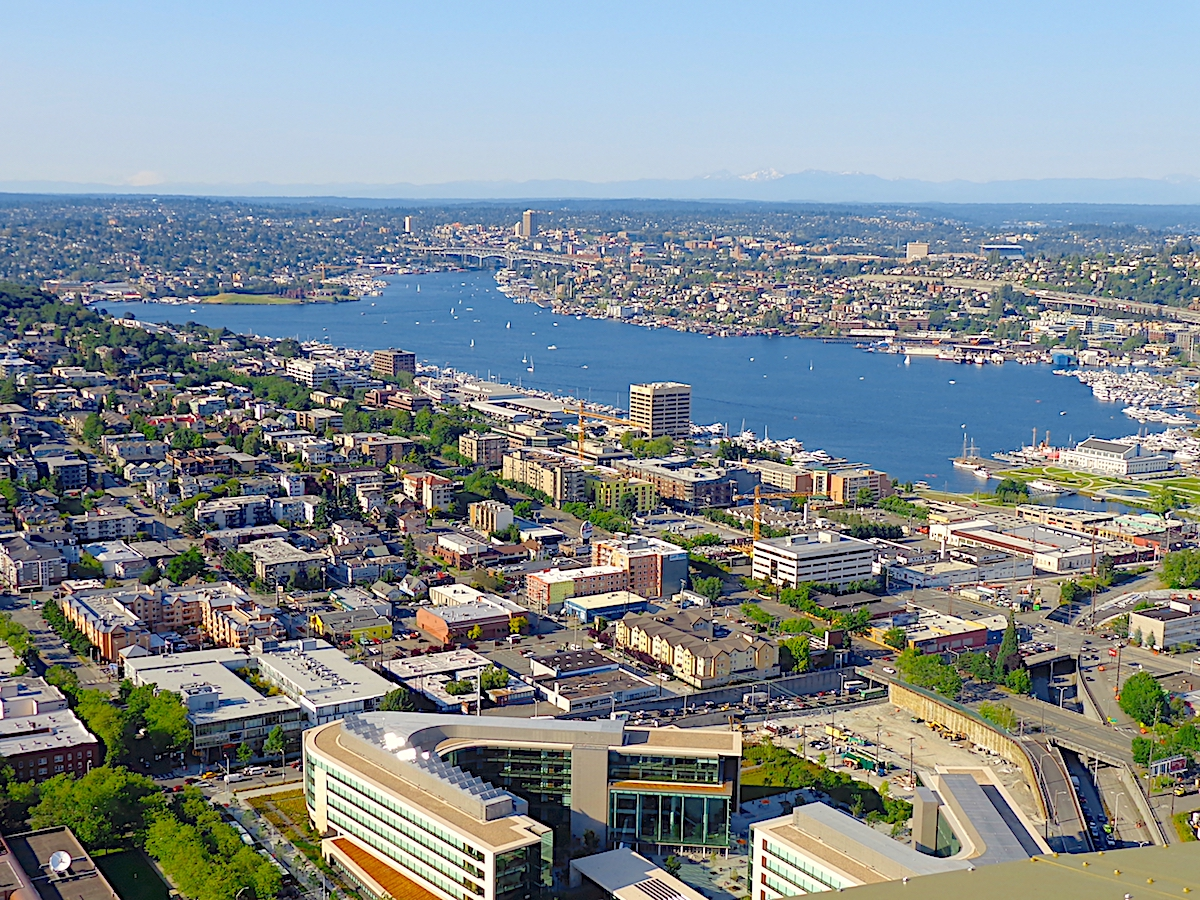 Lake Union seen from the Space Needle on a sunny afternoon